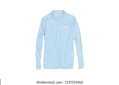Blue shirt on a white background. Isolate. Fashionable concept