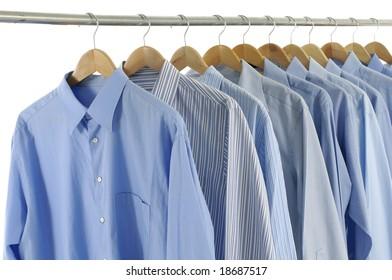 blue shirts on hangers