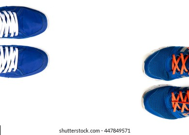 Blue shoes two style on white background.