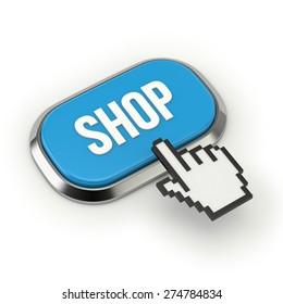 Blue shop button with metallic border on white background