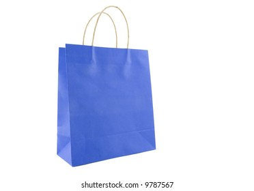 blue shopping bag isolated on white