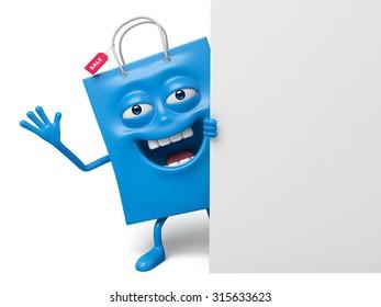 A blue shopping bag with a white placard