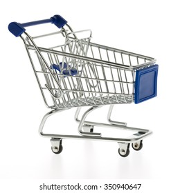 A blue shopping cart isolated on white background