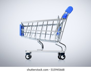 Blue shopping cart on background