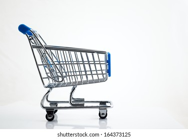blue shopping trolley on white background