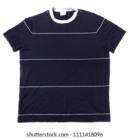 Blue short sleeve t-shirt on white background