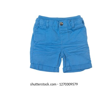 Blue shorts for boy isolated on white background/ Top view/ Flat lay
