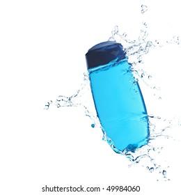 Blue shower gel in water stream with splashes