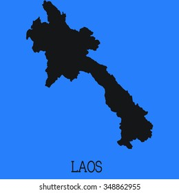 Blue Silhouette of the Country Laos