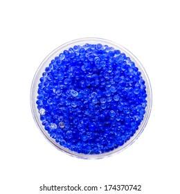 blue silica gel on white background