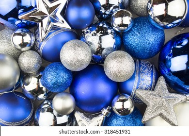 Blue and silver Christmas balls for a christmas background