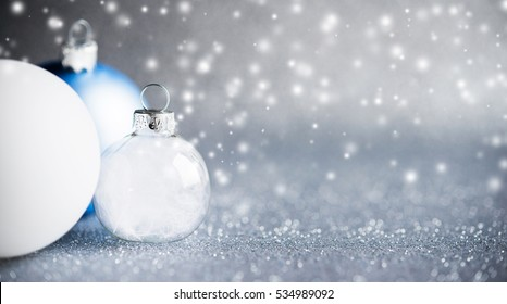 Blue Silver White Christmas Ornaments On Stock Photo Edit Now
