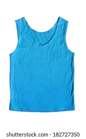 Blue simple tank top isolated over white