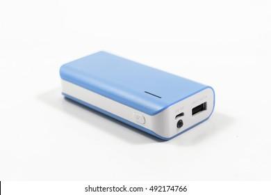 blue Single Powerbank isolated on white background