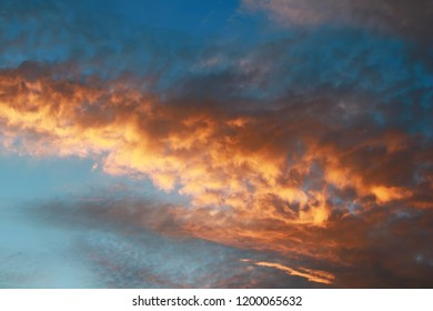 Blue skay with colored clouds