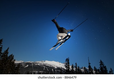 Blue Skies and Big Air in Whistler, BC, Canada.