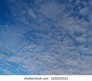 Blue skies decorated with clouds, Omsk region, Siberia, Russia