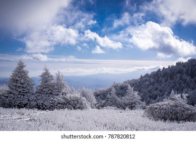 Blue skies over a frigid landscape along the Appalachian Trail