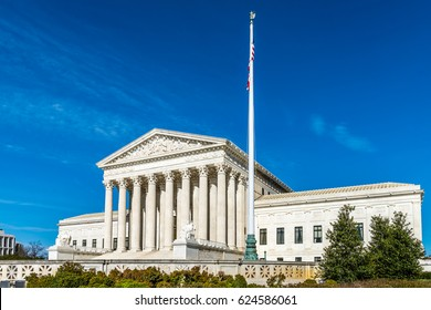 Blue skies over the United States Supreme Court Building in Washington DC.