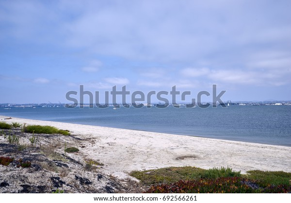 blue skies with puffy white clouds on Coronado Bay, San Diego, California