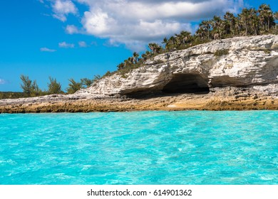 The blue skies and turquoise waters of the Caribbean island of Eleuthera, Bahamas