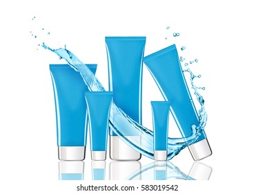 Blue skin care cream containers with water splash in white background with reflection