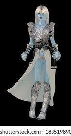 Blue skinned fantasy ice queen in armour isolated on black
