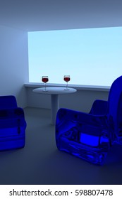 blue sky and 3D rendering of wine glasses, a table and blue seating