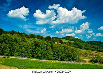 Blue sky above the hills