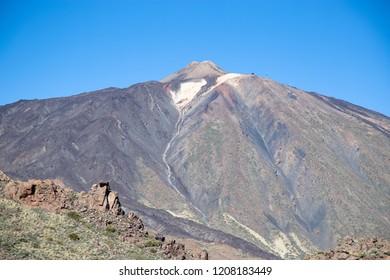 "Blue sky above the vulcan. The National Park ""Vulcan El Teide"" on Tenerife - Canary Islands.  Mountain landscape."