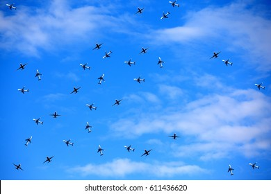 In the blue sky a lot of aircraft