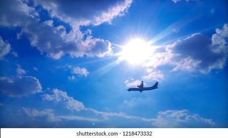 Blue Sky and Aircraft, sunset sky. Nutural sky image, white cloud blue sky. sunset time etc.