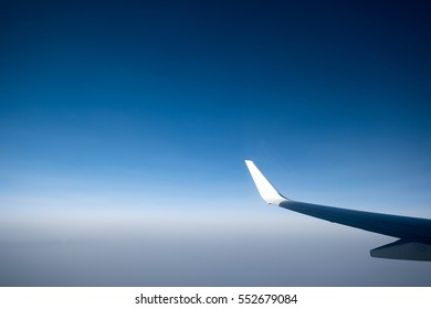 Blue sky from airplane