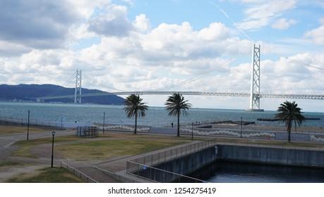 Blue sky and Akashi Kaikyo Bridge