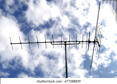 Blue sky and antenna, background