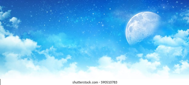 Blue sky background, moon light in white clouds, bright stars shining behind