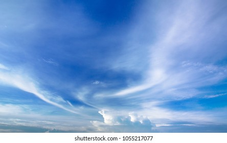 Blue sky background with spectacular white clouds