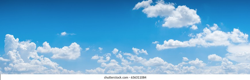 Photo of blue sky background with tiny clouds. panorama