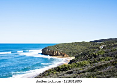 Blue sky Beautiful Bells Beach is the most famous surfing beach along the Great Ocean Road and one of the world's great surfing breaks - Torquay, Victoria, Australia