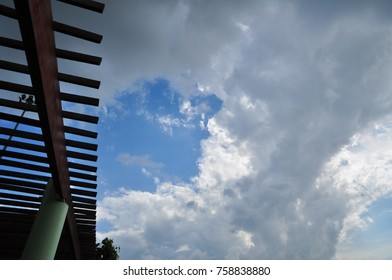 Blue sky with beautiful clouds. The afternoon sun and beautiful clouds when exposed to light.Clouds with sun rays.