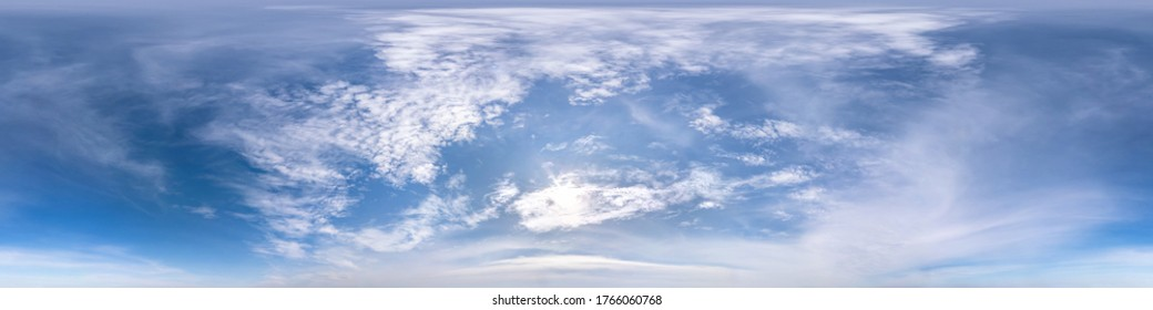 blue sky with beautiful fluffy cumulus clouds. Seamless hdri panorama 360 degrees angle view without ground for use in 3d graphics or game development as sky dome or edit drone shot - Shutterstock ID 1766060768