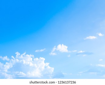 Blue sky and Beautiful white clouds, Cloudscape with Color fade gradient blue to white for background