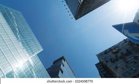 Blue sky between the building
