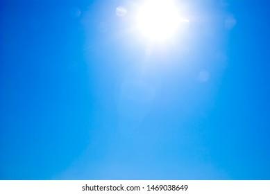 blue sky with bright sun