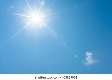 Blue sky and bright sun