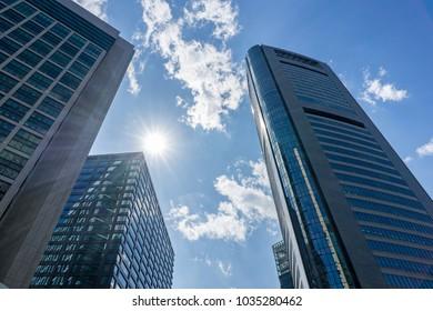 Blue sky and buildings, Tokyo, Japan