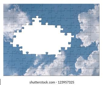 Blue sky business solution concept - cloud jigsaw