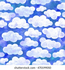 Blue sky cartoon white clouds. For children's greeting cards, toys, packaging. Happy and cheerful style.