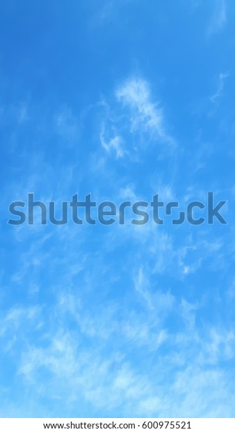 blue sky with Circus cirratus clouds copy space