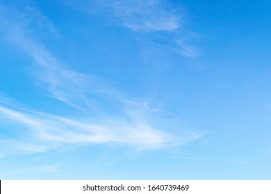 Blue sky with cirrus cloud. It's clearing day and good weather in the morning. It's best time for travelling on holiday.